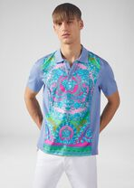 Fluo Barocco桑蚕丝嵌饰Polo衫 - Versace T恤和Polo衫 - image 2 of 5 in carousel