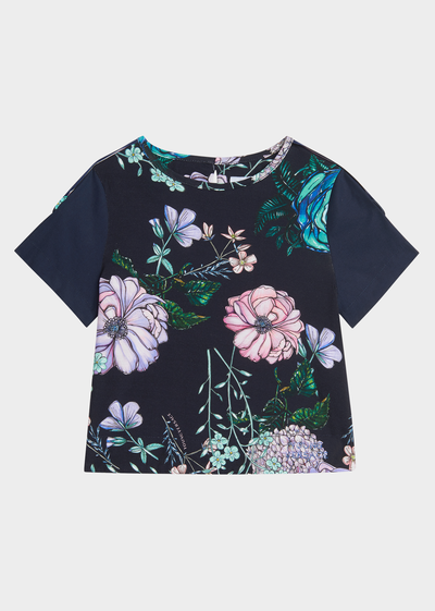 Floral Burst 撞色 T 恤 - Young Versace 女童服装