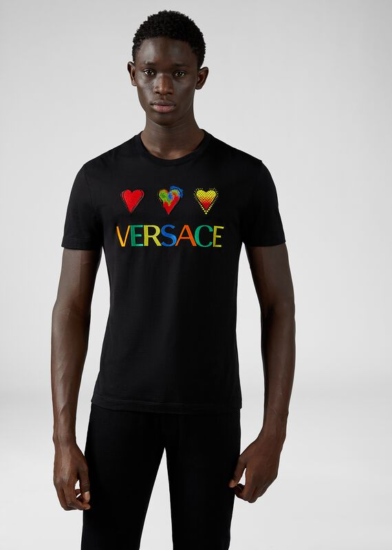 修身版Love Versace 刺绣T恤 - Versace T恤和Polo衫 - image 2 of 5 in carousel