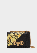 Gold Hibiscus印花中号绗缝Icon手袋 - Versace 肩背包