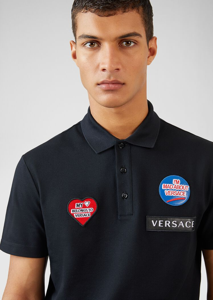 Mad About Versace图案Polo衫 - Versace T恤和Polo衫